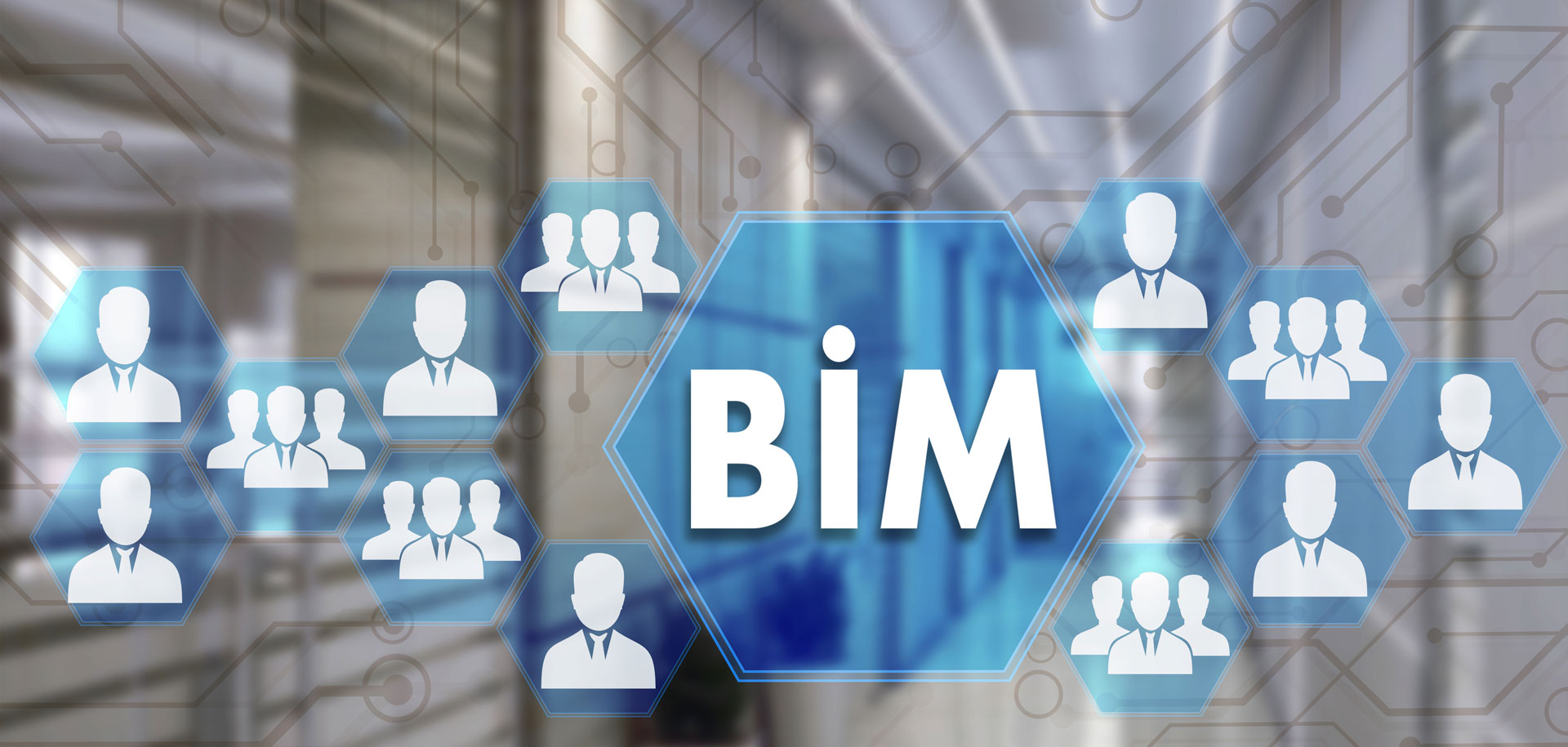 building information modelling (BIM) header with blue icons of people